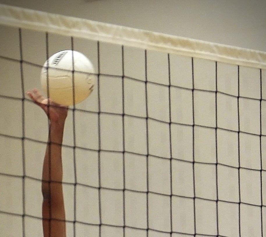 An arm reaching to hit, with the net in the foreground
