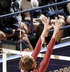 Blocker jumping with forearms above the height of the net