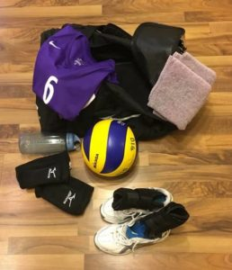 Volleyball gear: jersey, sweat towel, water bottle, volleyball, knee pads, shoes, ankle braces, duffel bagVolleyball gear