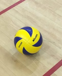 mikasa yellow and purple volleyball on a gymnasium floor