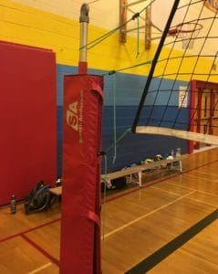 volleyball pole with padding and net