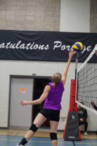 setter tipping the ball over the net