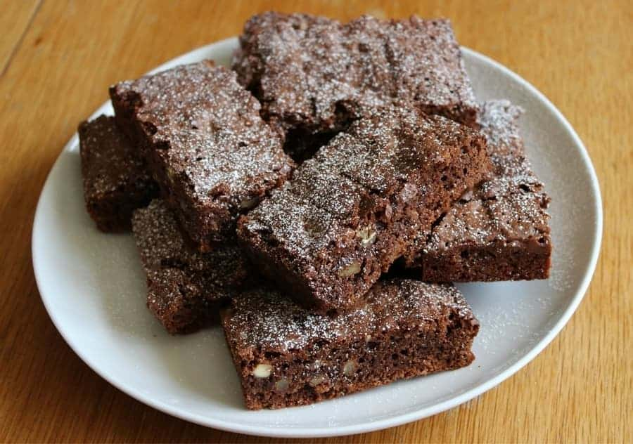pile of chocolate brownies on a plate